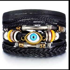 Mixed Wrap Stackable Leather Bracelet | Evil Eye